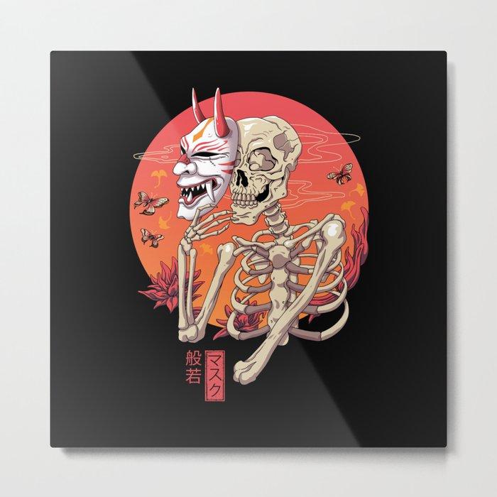 Hannya Spirit Mask Metal Print