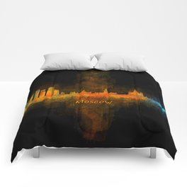 Moscow City Skyline art HQ v4 Comforters