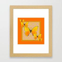 Butterscotch Golden Butterflies Yellow Abstract Framed Art Print