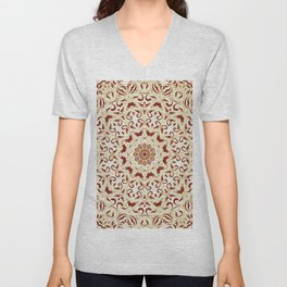 Floral Pattern Gold and Carmine Red Unisex V-Neck