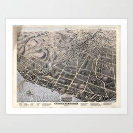 Vintage Pictorial Map of Poughkeepsie NY (1871) Art Print