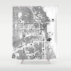 Chicago Map Schwarzplan Only Buildings Shower Curtain