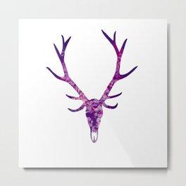 Dark Purple Floral Deer Skull Metal Print