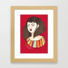 Eun-Mi / Red Framed Art Print