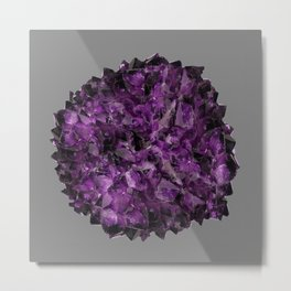 PURPLE AMETHYST CRYSTALS GREY ART Metal Print