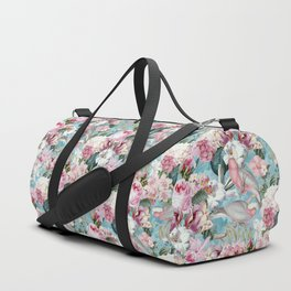 Vintage & Shabby Chic - Flower Garden Dance And Birds On Teal Duffle Bag