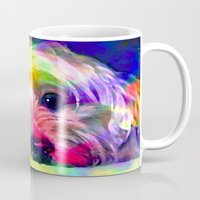 yorkie Mugs featuring Colorful Yorkie By Annie Zeno  by AZ Creative Visions