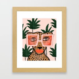 Tropical Glam Cat Framed Art Print