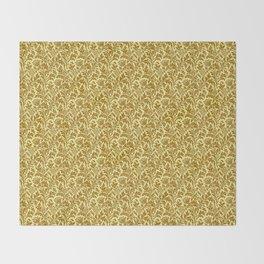 William Morris Thistle Damask in Mustard Gold Throw Blanket
