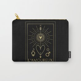L'Amoureux or The Lovers Tarot Gold Carry-All Pouch