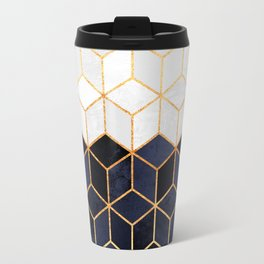 White & Navy Cubes Travel Mug