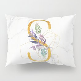 Modern glamorous personalized gold initial letter S, Custom initial name monogram gold alphabet prin Pillow Sham