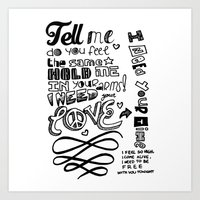 lettering Art Prints featuring Lettering Lyrics by Insait