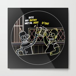 Bender & Homer Neon Toast Metal Print