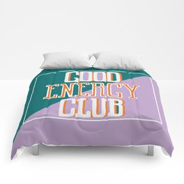 Good Energy Club- turquoise, orange, and lavender Comforters