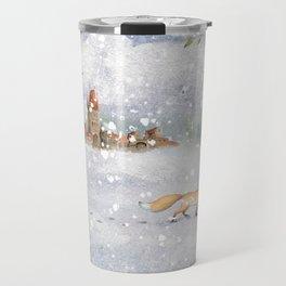 Christmas vintage fox Travel Mug