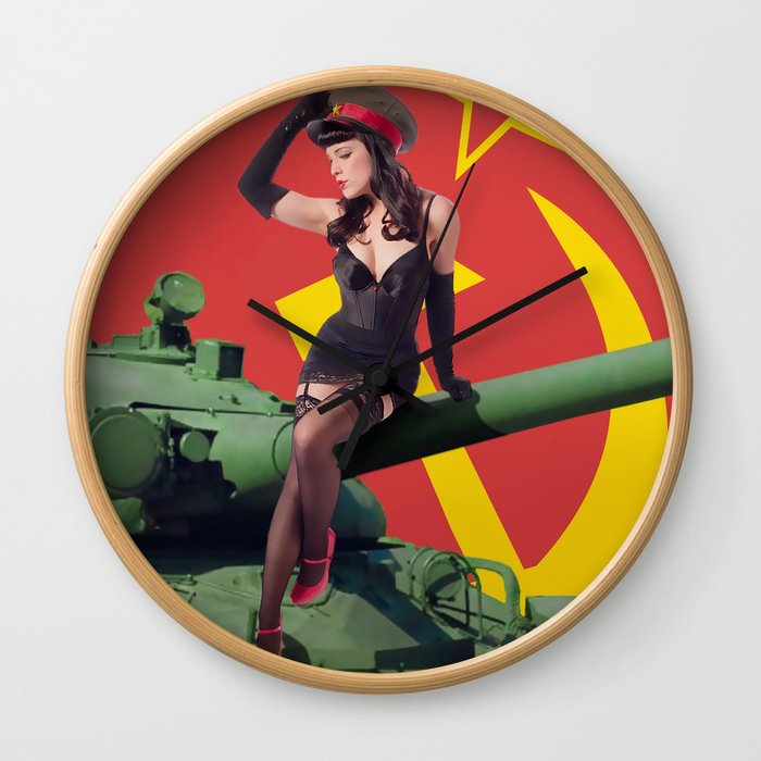 """""""Sovietsky by Land"""" - The Playful Pinup - Russian Tank Pin-up Girl by Maxwell H. Johnson Wall Clock"""