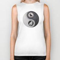 yin yang Biker Tanks featuring  Yin & Yang  by Owl Art Suri