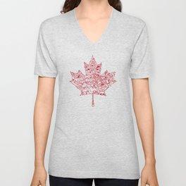 Maple Leaf - red Unisex V-Neck