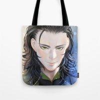loki Tote Bags featuring Loki by Lüleiya