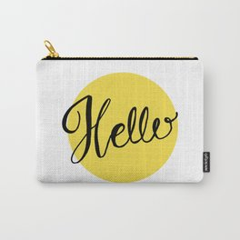 Hello Chartreuse Green Hand Lettering Carry-All Pouch