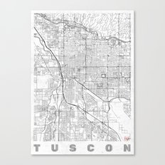 Tuscon Map Line Canvas Print