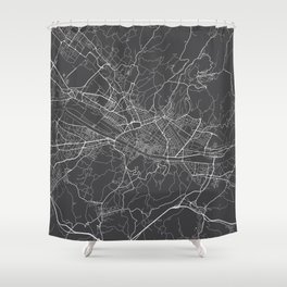Florence Map, Italy - Gray Shower Curtain