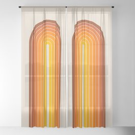 Gradient Arch - Vintage Orange Sheer Curtain