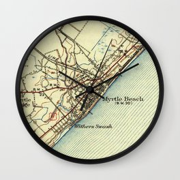 Vintage Map of Myrtle Beach South Carolina (1940) Wall Clock