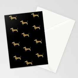 Dachshund Dog Gold Glitter Pattern Stationery Cards