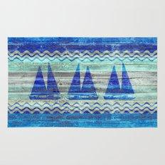 Rustic Navy Blue Coastal Decor Sailboats Rug