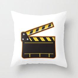Movie Camera Slate Clapper Board Open Retro Throw Pillow