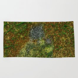 Old stone wall with moss Beach Towel