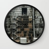 industrial Wall Clocks featuring Industrial  by Novella Photography