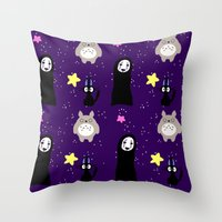 ghibli Throw Pillows featuring Ghibli by KawaiiLily