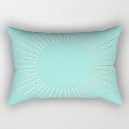 Simply Sunburst in Tropical Sea Blue Rectangular Pillow