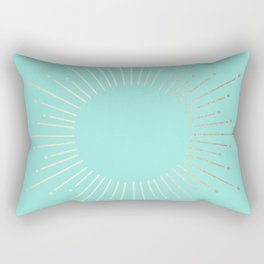 Simply Sunburst in Tropical Sea Blue Rectangular Pillow