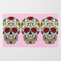 sugar skull Area & Throw Rugs featuring Sugar Skull by Jade Boylan