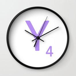 Lavender Alphabet Letter Y Scrabble Wall Clock