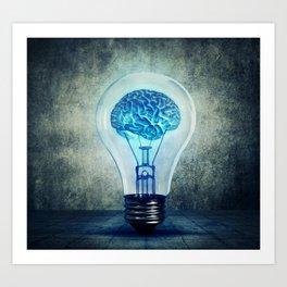 lightbulb brain shining Art Print