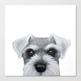 Schnauzer Grey&white, Dog illustration original painting print Canvas Print