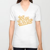 san diego V-neck T-shirts featuring San Diego by GetSolidGold