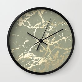 Kintsugi Ceramic Gold on Green Tea Wall Clock