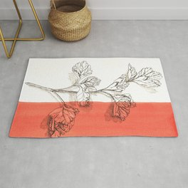 parsley branch nature watercolor orange Rug