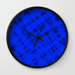 Bright metal mesh with blue intersecting diagonal lines and stripes. Wall Clock