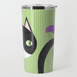 Tuxedo Cat and Purple Bird Travel Mug