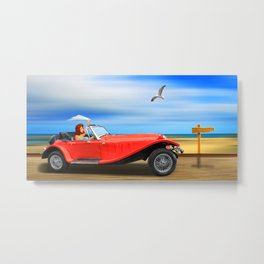Pin-Up Girl on the road to the beach Metal Print