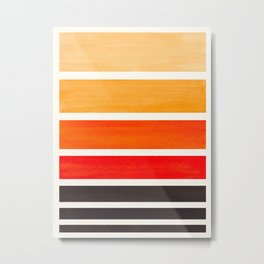 Orange Minimalist Watercolor Mid Century Staggered Stripes Rothko Color Block Geometric Art Metal Print