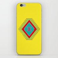 kilim iPhone & iPod Skins featuring Persian Kilim - Yellow Background by Katayoon Photography