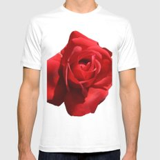 Red Rose Isolated MEDIUM Mens Fitted Tee White